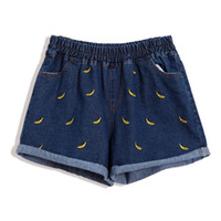 banana jeans - Summer women2015 New fashion Cute banana embroidery elastic waist loose denim shorts women casual Jeans shorts Feminino B52903