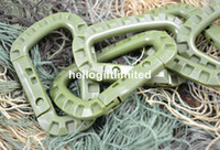 army keychains - Plastic POM Army Green Carabiner Snap Lock Keychains Keyring Molle Gear Outdoor EDC Accessory Business Promotion Gift