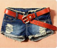 america jean shorts - Spring Summer Female Europe and America Korea Fashion Low Waist Hole Lace Letter Print Short Women Denim Shorts Jean no belt