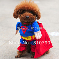 Wholesale Pet Dog Puppy Cotton Superman Clothes Halloween Apparel Costumes Outfit Suit Cat Dog Clothing