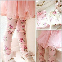 Wholesale Girls Leggings baby pants cotton fashion Floral leggings baby flower trousers TZ A004