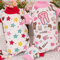 Wholesale Dog Puppy Star Rabbit Pattern Pajamas Clothes for Dogs Pet Cute Jumpsuit Shirt Costume Freeshipping
