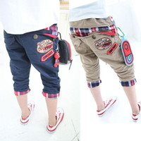 Cheap Wholesale-2015 new summer cool style boys clothing girls clothing baby car letter pattern pants trousers breeched
