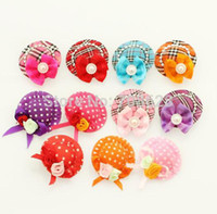 bathing small dogs - PC Small Lovely Hat Design Dog Pet Hair Clips Hairpin Handmade Hair Accessories Grooming Bows Supplies