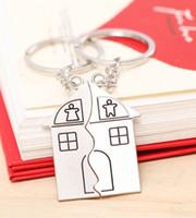 Keyring couple maison Avis-Vente en gros-livraison Gratuite personnalisé bisuteria pas cher porte-clés souvenirs de gros dans beaucoup de hotsale clé chaveiro métal couple de keychain de la maison