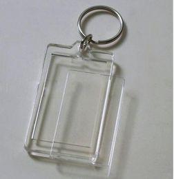 Wholesale Blank Acrylic Rectangle Keychains Insert Photo Keyrings Key ring chain