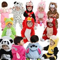 al por mayor mamelucos animales del bebé-Al por mayor-2015 Hot Nueva Primavera ropa del bebé del otoño franela de algodón Ropa de bebé 3D de dibujos animados de animales mamelucos del bebé Niños Niñas Mono