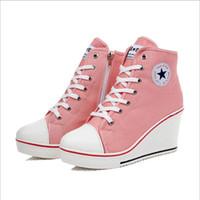 Venta por mayor-2015 primavera insignia cuñas alta cordones zapatos del elevador casual mujeres lona alta cuña superior zapatillas mujer deporte zapatos 40415