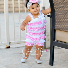 Wholesale-Lace and satin Romper in light pink and white with polka dots for baby girl,photo prop birthday minnie mouse
