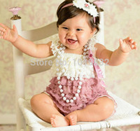 Wholesale Baby Dusty Rose Lace Romper Baby Girls Vintage Spired Romper Newborn Baby Summer Outfit Toddler Jumpsuit Birthday Outfit