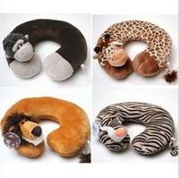 Cheap Wholesale-Free Shipping Novelty Plush Animal U-Shape Neck Pillow Rest Car Comfort Travel Pillows Retail