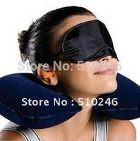 best massage cushions - best selling Travel Set Inflatable Neck Air Cushion Pillow eye mask Ear Plug amenity kit