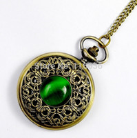Wholesale NEW Big Vintage Emerald stone pocket watch Green Necklace woman Jewelry Gothic fashion retro Dropshipping Elf Eye