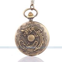 Wholesale Antique Bronze Tone Men steampunk pendant pocket vine watch on a chain Quartz pocket watch necklace