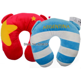 Wholesale World Cup Mascot Plush U Neck Travel Pillow National Flag Bear Brazil Argentina Portugal Spain Germany Italy UK France