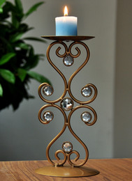 Wholesale-Free Shipping Vintage Brown Metal Candel Stick Holder Flower Table Top Decorative Stand Top