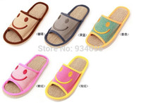 Cheap Wholesale-2015 New summer Sandals smile linen Sandals shoes for men and women couple home indoor floor Sandals bottom family Sandals