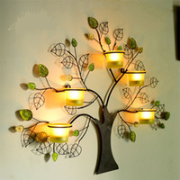 Wholesale Creative Handmade Rustic Iron Tree Shape Candle Holder Wind Lamp Wall Art Craftworks Accessories Embellishment