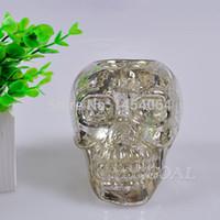 antique glass candlestick holders - Antique Skull Candlestick Holder Antique Silver Glass Stand Table Centrepiece Pray Decor