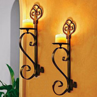 Wholesale pieces ofing Restore ancient wrought iron hanging wall candle holder coverings personality