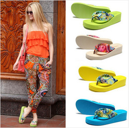 Wholesale-New Summer Bohemia Flower Flip Flops Platform Wedges for Women Sandals Platform Flip Slippers Beach Shoes Free Shipping