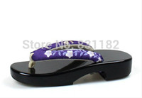 geta - Women s Wooden clogs Geta sandals mirror black lacquer bright surface Japanese Cosplay Flip Flops geta Sandals wooden clogs