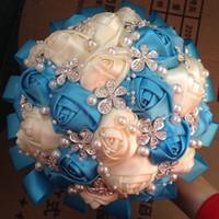 Wholesale Custom Hand Made Color White Ivory Blue Satin Rose Flower Pearl Rhinestone Diamentes Brooch Jewelry Decor Bridal wedding bouquet