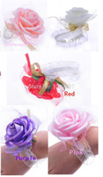 Wholesale Wedding New Year Prom Party Decor Lady Girl Hand Flowers Bracelet Artificial Rose Wrist Wreaths Festival Decoration pieces