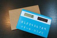Wholesale High quality Mini Slim Credit Card Solar Power Pocket Calculator random color C007