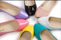 al por mayor zapatos de enchufe-Envío al por mayor-libre nuevo plug tamaño de los zapatos de las mujeres zapatos de los planos del cuero de patente del tamaño para la mujer embarazada Enfermera 8 colores 35-41 CXD800