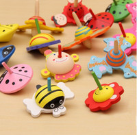 best baby design - new design cartoon animal wooden spinning top children s toys baby best gift toy
