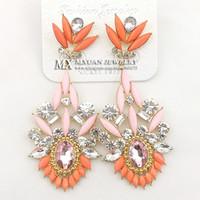 big dangle earrings orange - Fashion Big Neon Orange Resin Rhinestone Drop Earrings Vintage Jewelry For Women ER012