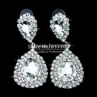 Wholesale Original Design Teardrop Crystal Bridal Silver Long Earrings for Women Imitated Gemstone Jewelry EH003