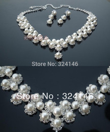 Wholesale-Free shipping 100% ivory pearl bridal jewelry sets crsytal wedding jewelry sets accessory