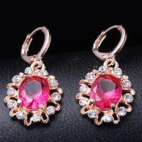 fashion jewelry dropship - Dropship K Rose Gold Filled Fashion Design sexy Cubic zirconia Shine Lady Women Earrings Dangler Jewelry CZ0202