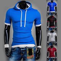 Wholesale New Listing Mens Hoodies Fashion Solid Color Short Sleeve Hoody Man Casual Slim Fit Sports Sweatshirt Men Clothes