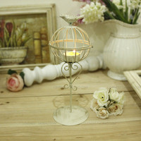 Wholesale vintage classic iron art birdcage candle holder white and black painted table candlestick wwedding decoration