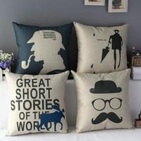 Wholesale cm cm Linen Cotton Sherlock Holmes Gentleman Navy Beige Throw Pillow Case Cushion Cover New