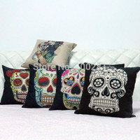 Cheap Wholesale-43cm*43cm Home Decoration Vintage Cotton Linen Skull Pillowcase Skull Cushion Cover Pillow Case Pillowcase Sofa Bed Cars Covers