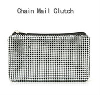 aluminum mail - Aluminum Sheet Cosmetic Bag For Women Ladies luxury Fashion Chain Mail Clutch High Capacity Wash Bag XL336