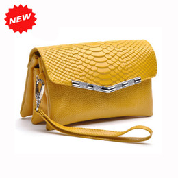 Wholesale Candy Colors Crocodile Pattern Women Shoulder Day Clutches Genuine Leather Wristlet Cosmetic Coin Purse Messenger Bag ANS SL
