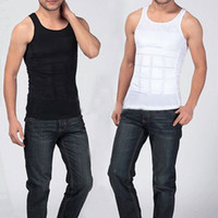 Cheap Wholesale-Men's Slimming Body Shaper Belly Fatty Underwear Vest Shirt Corset Compression