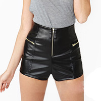 Wholesale XS XXL Faux Black High Waisted Leather Shorts for Women Plus Size