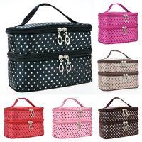 best women s bags - Best Sell Women amp s Fashion Portable Double Deck Cosmetic Bag Dot Pattern Makeup Bag Set Kit Toiletry Bag B2