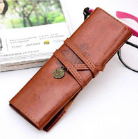 Cheap Wholesale-Women's Faux Leather Pencil Pen Case 2015 Fashion New Vintage String Cosmetic Makeup Bags Pouches Pocket Brush Holder