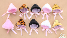Wholesale-cat clip cosplay Neko anime fancy costume maid lolita plush cat ear hair clip bells bow bobby pin hairpin free shipping 5 color
