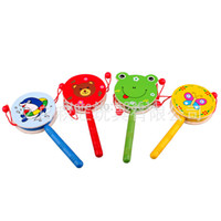 wood pellets - Baby Toys Musical Wooden Rattle Pellet Drum Cartoon Hand Bell Cute Infant Gifts amp Drop Shipping