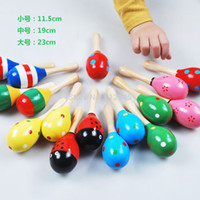 cabasa - Hot sale baby mini rattle toy wooden sand hammer Cabasa maraca for baby baby cartoon musical toys education toy