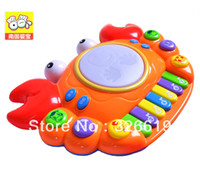 Cheap Wholesale-Free Shipping Toy Piano Unisex Battery Multifunctional orgatron story telling music drum luminous pat child hand drum toy piano