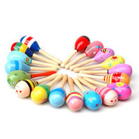 Wholesale Wooden sand hammer rattles Infant educational toys child musical instrument baby year old L088